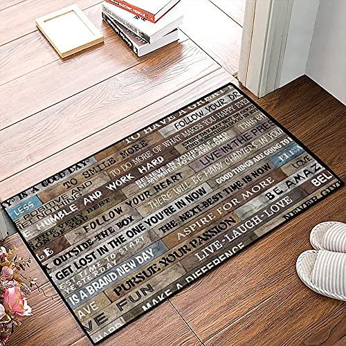 QDYLM Alfombra de baño de Microfibra esponjosa,Estantería Vintage rústica de Citas motivacionales alfombras de Ducha de Suave Absorbente de Agua, 50x80 cm