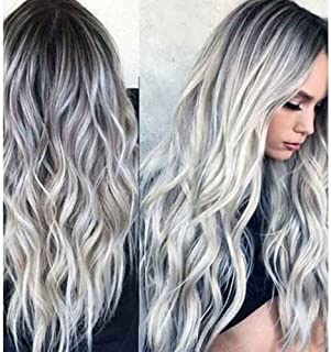 """23"""" Natural Full Wigs Hair Long Wavy Wig Synthetic Heat Resistant (Ombre Silver)"""