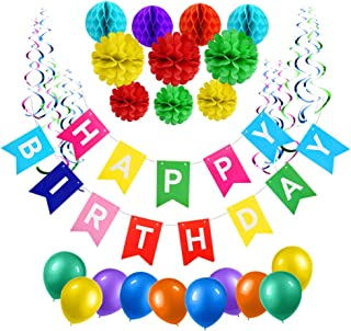 51 Pcs Happy Birthday Decorations, Party Decorations for Kids Birthday, Happy Birthday Bunting Banner,Latex Balloons, Tissue Paper Flowers, Honeycomb Ball, Hanging Swirls for First 1st Birthday Boy Girl Decorations, Birthday Party Supplies