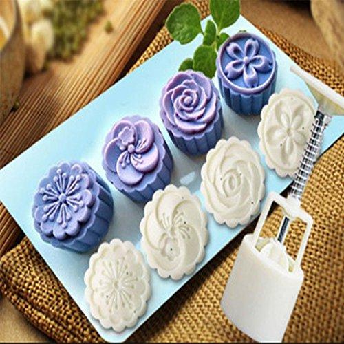 sunnymi 4Styles Moon Cake Mould Pistón Sello Flor Moon Tarta Mould Decor Juego Color Blanco Moldes Cocina Herramientas