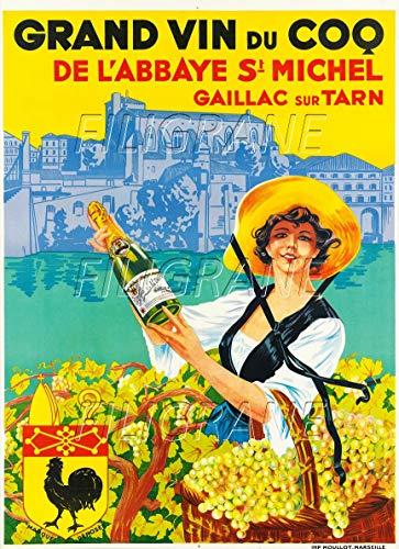 PostersAndCo TM Wein des Hahns Gaillac Tarn Poster / Kunstdruck 50 x 70 cm (auf Papier 60 x 80 cm) d1 Poster Vintage/Retro
