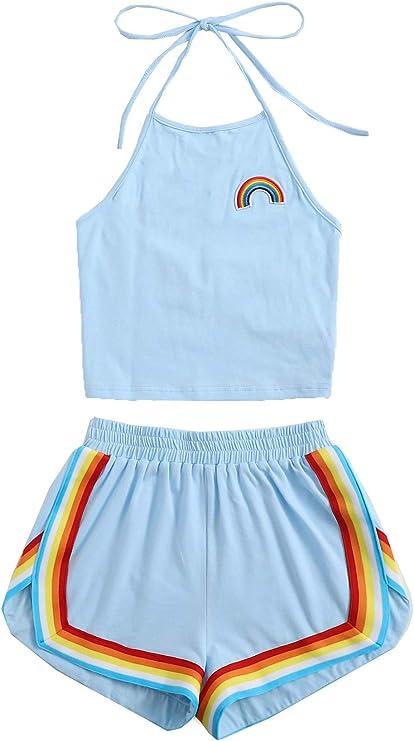 70s Shorts | Denim, High Rise, Athletic SweatyRocks Womens 2 Piece Set Halter Crop Top and Shorts Set  AT vintagedancer.com