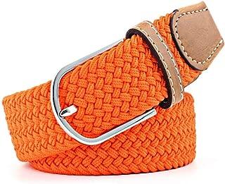 Men's and Women's Canvas Woven Elastic pin Buckle Belt Personality Fashion Student Belt Belt Candys house (Color : Orange, Size : 105cm)