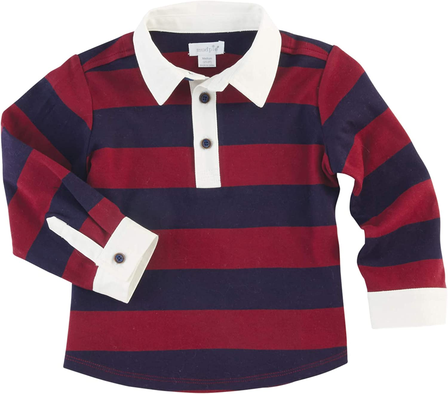 Mud Pie Boys Classic RUGBY SHIRTS S, Navy and Maroon, 12-18 Months US