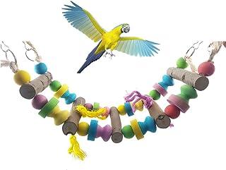 Sanwooden Funny Parrot Toy Pet Bird Parrot Parakeet Budgie Cockatiel Wooden Bridge Stairs Hanging Toy Pet Supplies