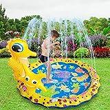 Sprinkle & Splash Spielmatte, Seahorse Kinder Wasser Pad, Kinder Jungen Mädchen Spaß Splash Spiel Matte Sommer Outdoor Sprinkler Pad Party Wasserspielzeug Extra große Kinder Sprinkler Pool (37.7 ')