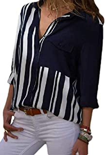 Womens Stripes Button Down Shirts Long Sleeve V Neck Casual Work Blouse