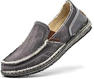Amitafo Men's Canvas Shoes Slip on Loafers Comfort Driving Shoes Flats Moccasins Casual Breathable Boat Shoes Size 5-11.5
