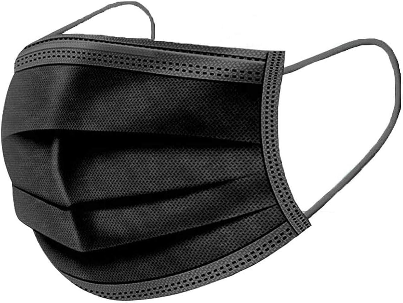 Langten 50 unidades, con ganchos elásticos para las orejas, almohadilla de protección sanitaria de filtro oral de 3 capas, tela no tejida para garantizar una ventilación segura (negro)