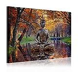 DekoArte 310 - Cuadros Modernos Impresión de Imagen Artística Digitalizada | Lienzo Decorativo para Tu Salón o Dormitorio | Estilo Buda Zen en Lago Paisaje Relajación Naturaleza | 1 Pieza 120 x 80 cm