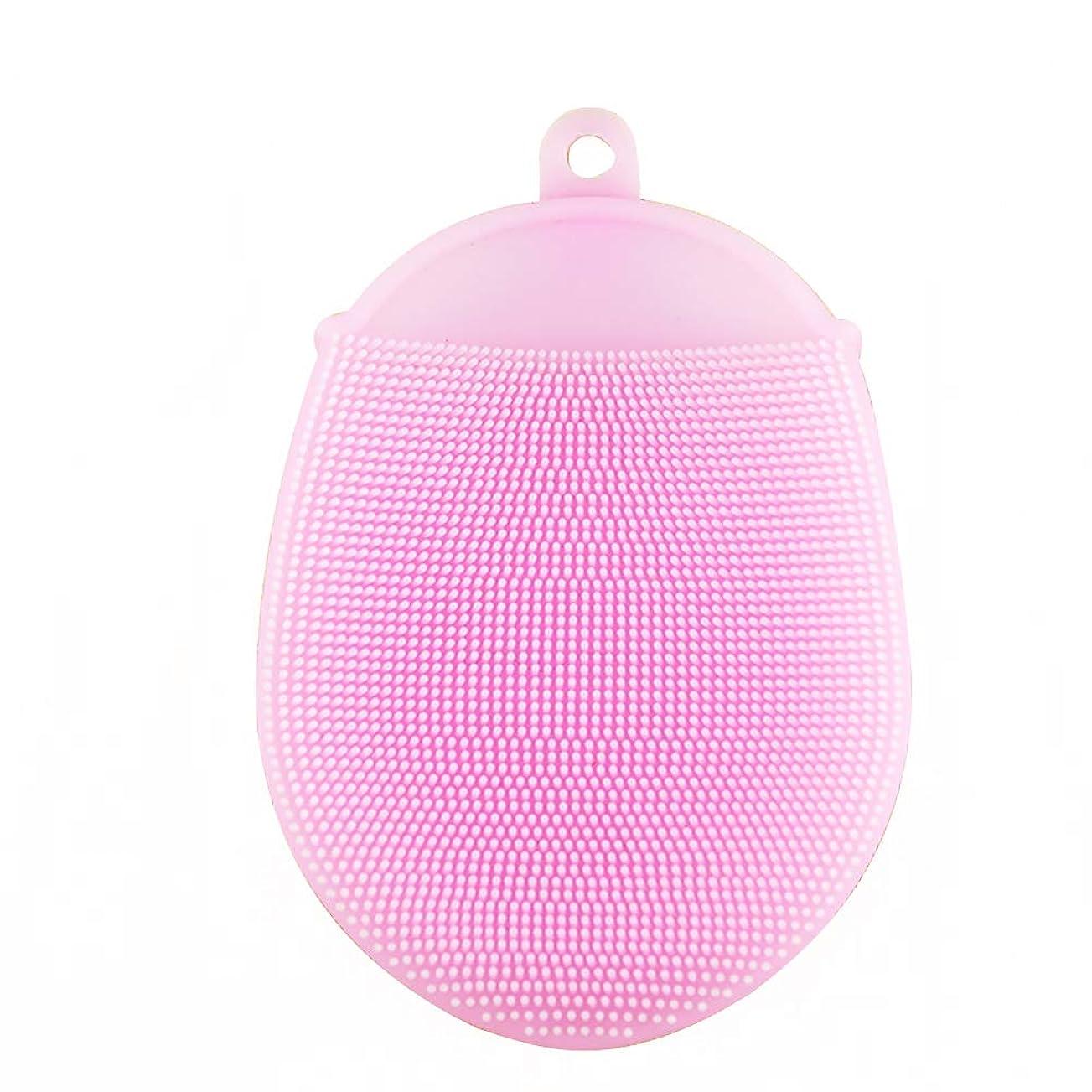 活性化追放する傾斜Healifty シリコン 入浴ブラシ 抗菌 シャワースクラバー 洗顔パッド 2本入 (ピンク)
