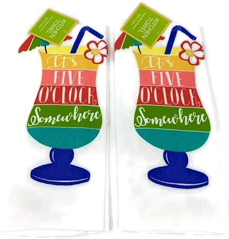 Ritz Tropical Paradise Drink It S 5 O Clock Somewhere Printed Kitchen Towel 2 Pack
