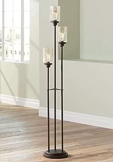 Libby Vintage Floor Lamp 3-Light Oiled Bronze Amber Seedy Glass Dimmable LED Edison Bulb for Living Room Bedroom - Franklin Iron Works