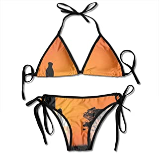 Women's Bikini Set,Cute Rudolph Deer and Santa Claus Greeting The New Year Happily in Cartoon Style,Two Pieces Swimsuit