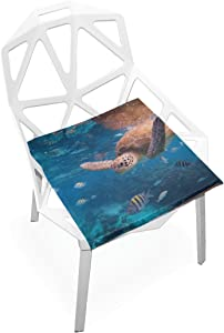 PLAO Chair Pads Ocean Turtle Soft Seat Cushions Nonslip Chair Mats for Dining, Patio, Camping, Kitchen Chairs, Home Decor