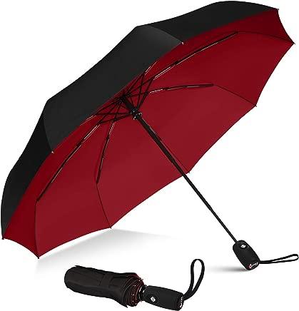 Repel Windproof Travel Umbrella with Teflon Coating (Black Red)