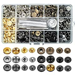 120 SETS, 6 COLORS - gold, silver, bronze, gunmetal, matte black and jet black. 120 sets in total, 20 sets snap fasteners each color. Each set are made of cap, socket, close post and stud OUR SIZE - The diameter of the cap is about 12.5 mm/0.49 inch....