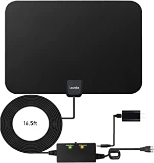 Loutsbe Amplified HD Digital TV Antenna,Indoor TV Antenna 80 Mile,Support 4K 1080P Fire tv Stick&All Older TV's for Indoor TV Antennas with Switch Amplifier Signal Booster,Freeview Life Local Channels