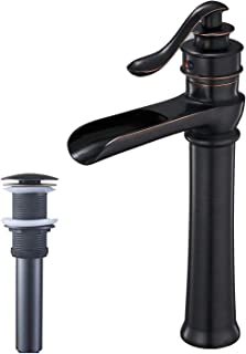 BWE Oil Rubbed Bronze Waterfall Commercial Bathroom Vessel Sink Faucet Deck Mount Tall Body Single Handle One Hole