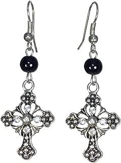 Ornate Christian Cross with Rhinestones & Bead Silver Tone Dangle Earrings
