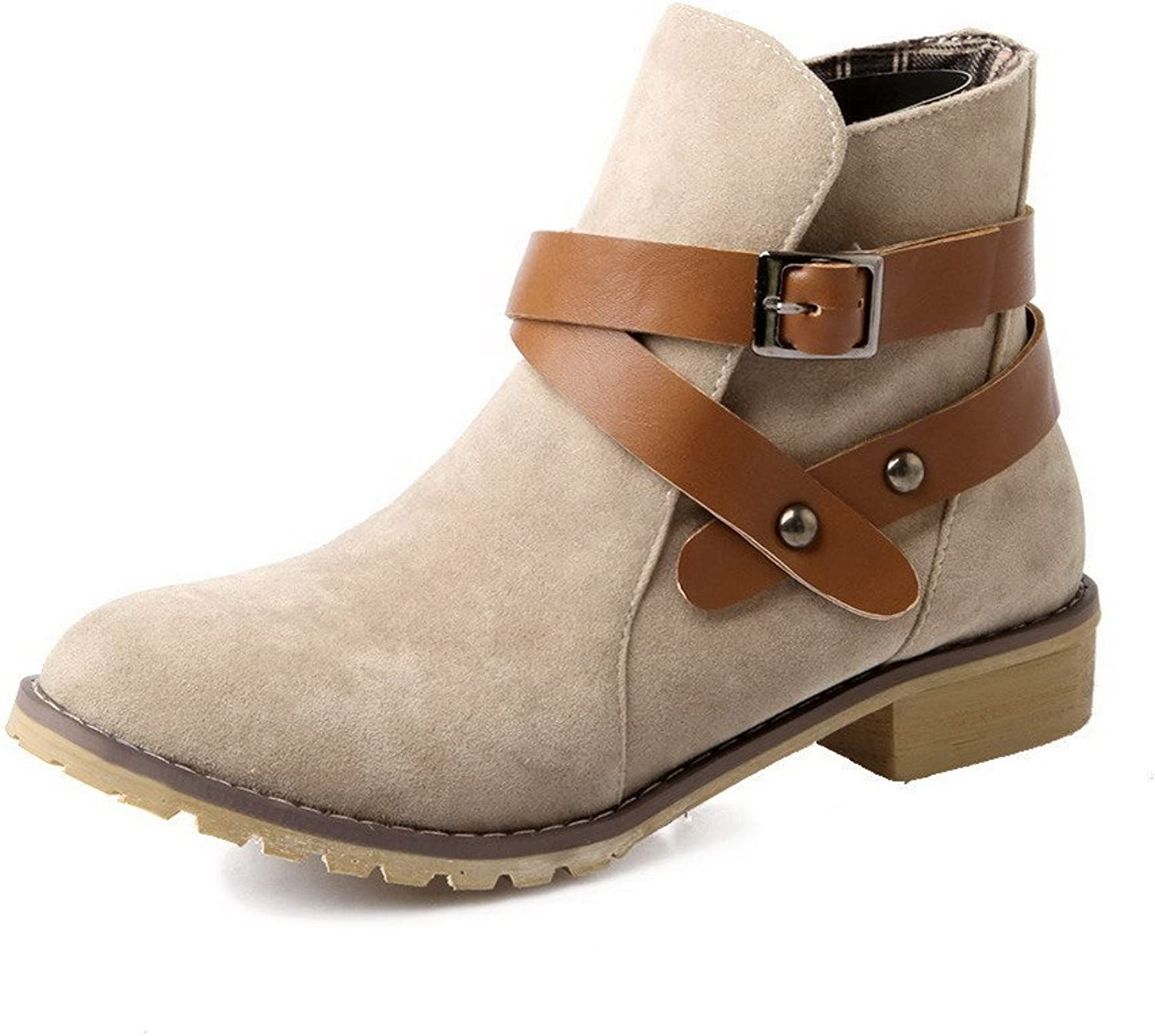 WeenFashion Women's Low-Heels Frosted Low-Top Solid Buckle Boots