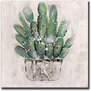 Cactus Canvas Wall Art, Hand Painted Framed Oil Painting Modern Succulent Green Watercolor Canvas Prints for Living Room Bedroom Office Home Wall Decoration, Stretched Ready to Hang (16x16inch)