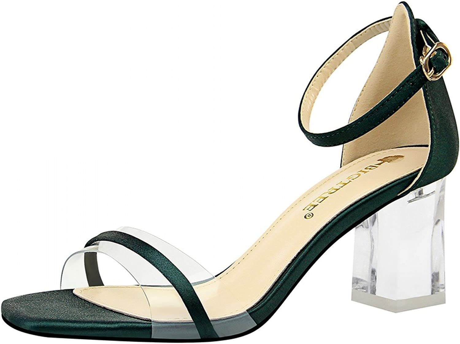 Rongzhi Womens Mid Heels Transparent Chunky Block Heels Ankle Strap Heeled Sandals Party Dress Open Toe Green