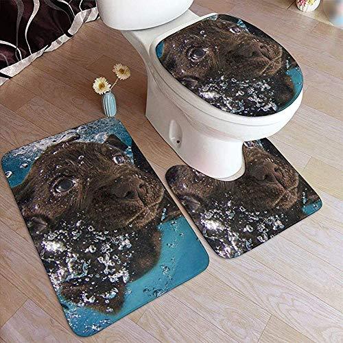 Qinzuisp Deurmat Black Labrador Retriever Comfort flanel toiletdekselafdekking Badmat Outdoor Set anti-slip onderlegger pad badmat 3-delig tapijt met zachte contour S