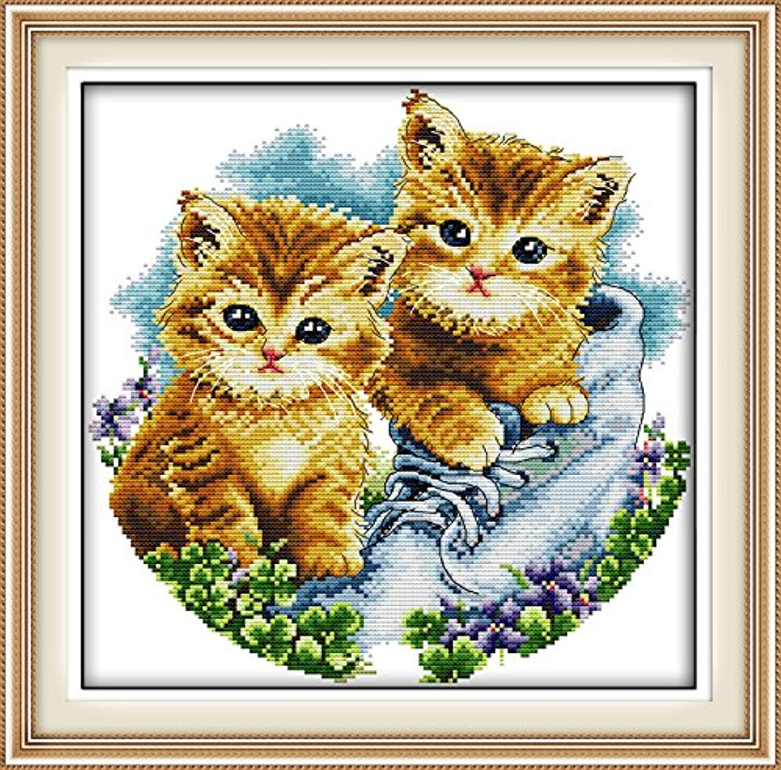 Full Range of Embroidery Starter Kits Stamped Cross Stitch Kits Beginners for DIY Embroidery with 40 Pattern Designs - Cats