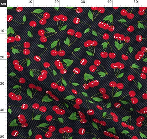 Kirsche, Kirschen, Rockabilly, Früchte, Sechziger Jahre Stoffe - Individuell Bedruckt von Spoonflower - Design von Miyatake Designs Gedruckt auf Baumwollstoff Klassik