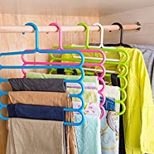 Inditradition 5 Layer Pant Cloth Hanger, Wardrobe Hanger   Space Saving Multi-Layer Design, Assorted Colour, Plastic (Pack of 8)