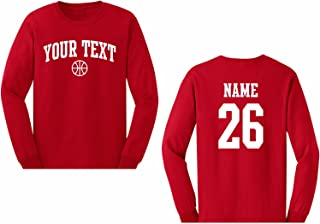 Men's Custom Personalized Long Sleeve T-Shirt, Basketball Arched Text, Back Name & Number