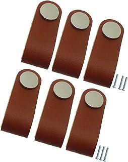 LOVIVER 6x Botão De Maçaneta De Porta De Couro Pu Para Decoração De Móveis De Botão De Gaveta De Armário