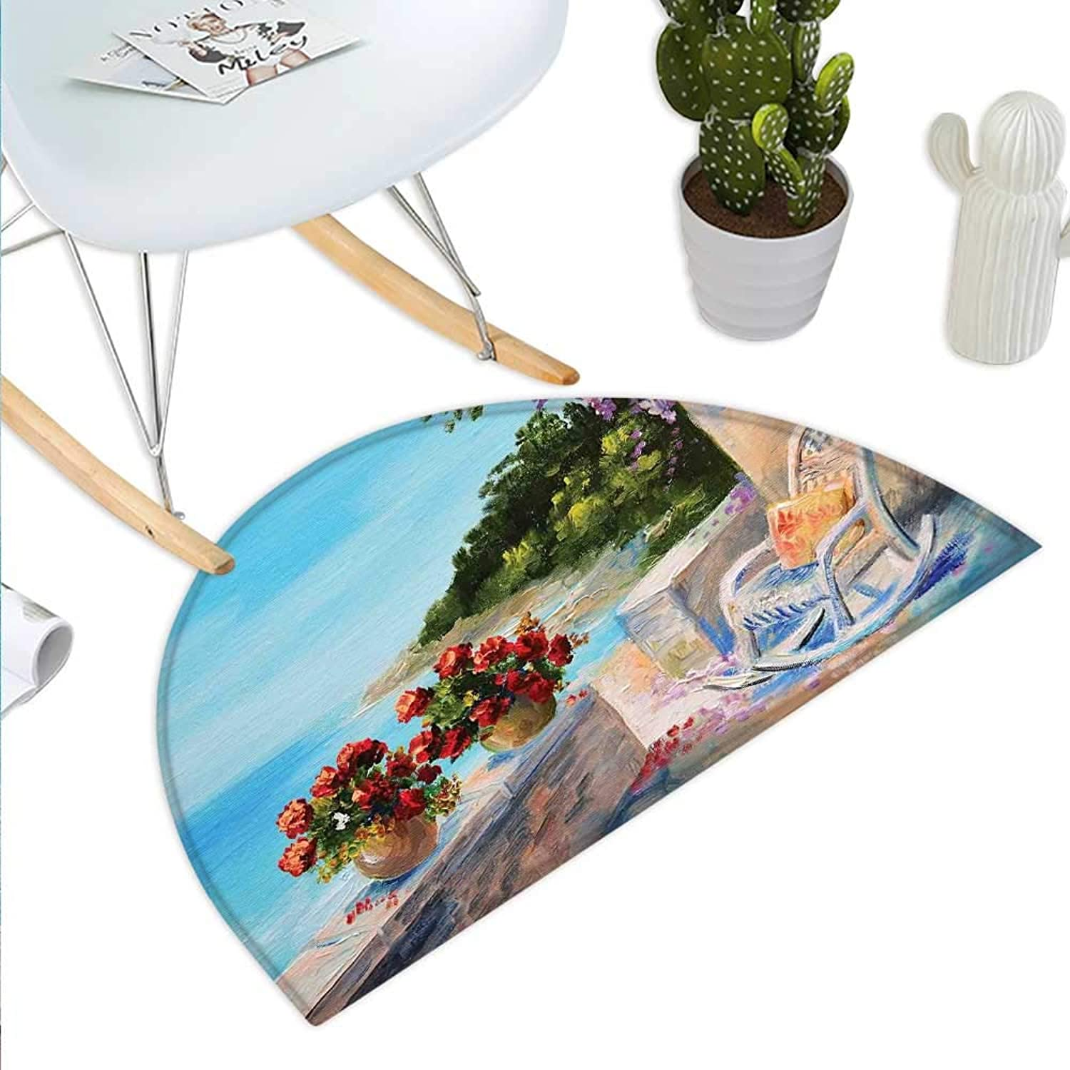Seascape Semicircle Doormat Sea View Balcony with Cosy Rocking Chair Flowers in Summer Sky Oil Painting Style Halfmoon doormats H 23.6  xD 35.4  Multicolor