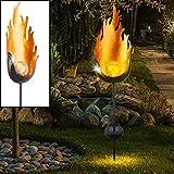 LED Solar Außen Lampe Flammen Design FEUER EFFEKT Crackle Glas Kugel Garten Steck Leuchte Hof Erdspieß Beleuchtung