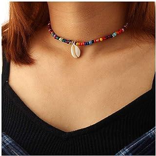 IYOU Boho Shell Gargantilla Collares Colgante Oro Cadena Colorida Collar de Cuentas Joyería para Mujeres y Niñas