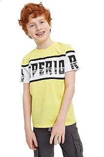 DeFacto Cotton Contrast Stripe Letter-Print Slim-Fit T-Shirt for Boys