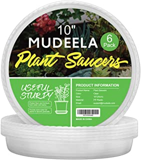 MUDEELA 6 Pack of 10 inch Plant Saucer, Durable Plastic Plant Trays for Indoors, Clear Plastic Flower Plant Pot Saucer, Made of Thicker, Stronger Plastic, with Taller Design