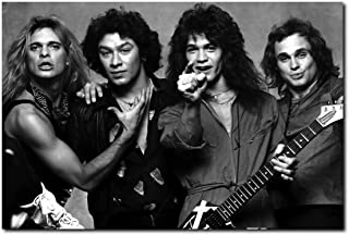 Wall decor Van Halen Poster 24 x 36 Inches | Ready to Frame for Office, Living Room, Dorm, Kids Room, Bedroom, Studio | Full Sized Black and White Print
