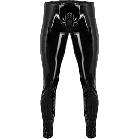 Agoky Men's PVC Leather Wetlook Trousers Leggings Tights Long Pants Night Club