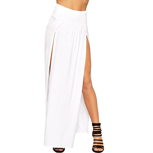 34feeec44d WearAll Womens Double Split Maxi Long Skirt Ladies Plain Basic Two Side  Slit 8-14