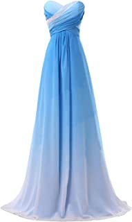 Women's Ombre Chiffon Prom Dress 2019 Long Pageant Party Gown Bw048