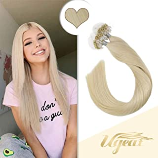 Ugeat 24inch Real Hair Microbeads Hair Extensions Color #60 Platinum Blonde Loop Remy Human Hair 50g Per Package Long Micro Rings Hair Extensions