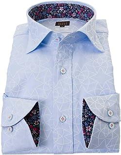 ドレスシャツ ワイシャツ シャツ メンズ 国産 長袖 綿100% ワイドカラー ブルー STYLE WORKS スタイルワークス |RWD200-151
