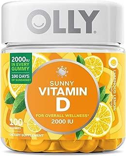 OLLY Sunny Vitamin D Gummy, 100 Day Supply (100 Gummies), Luminous Lemon, 2000 IU Vitamin D3, Chewable Supplement