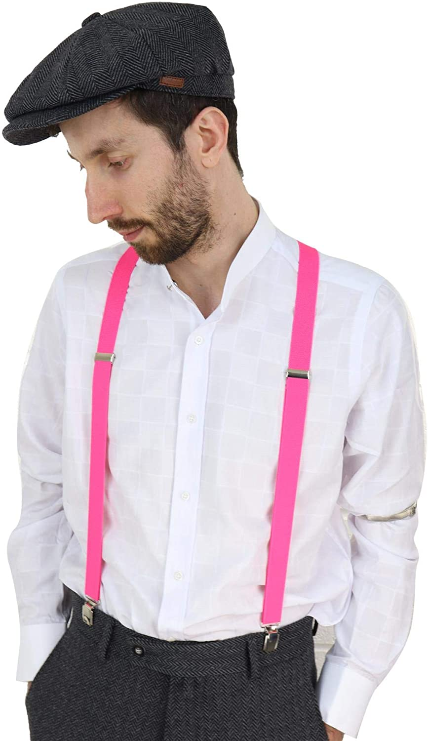 TruClothing.com Mens Classic Vintage Retro Trouser Braces Suspenders 1920s Gatsby Peaky Blinders White One-Size