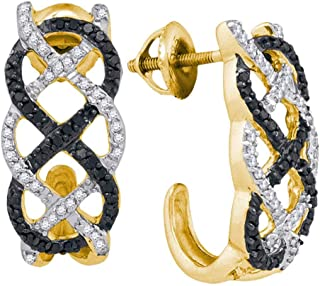 Mia Diamonds 10kt Yellow Gold Womens Round Black Color Enhanced Diamond Hoop Earrings (.50cttw) (I2-I3)