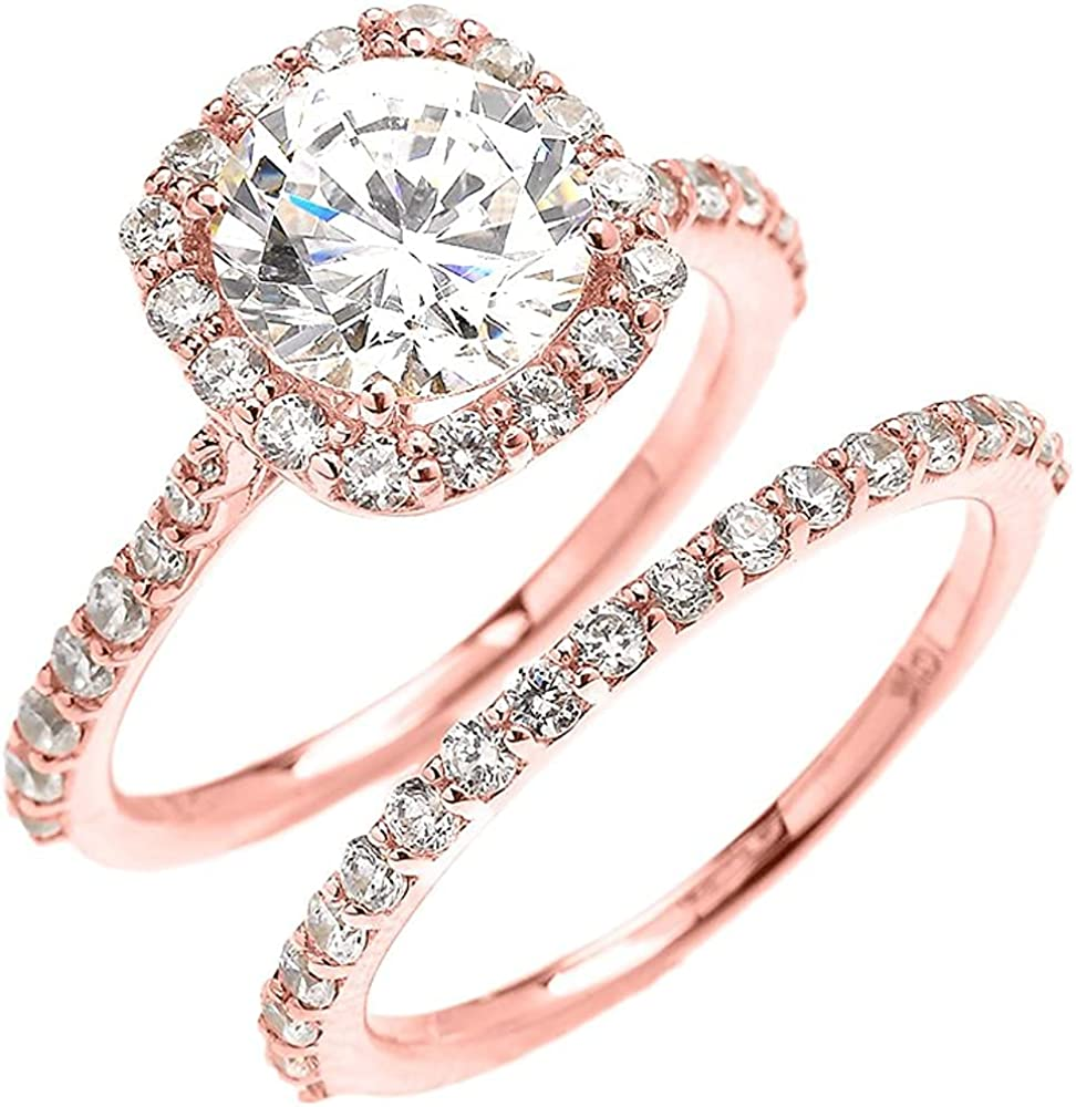 10K Rose Gold Cubic Zirconia Engagement Halo Shape OFFicial Outlet ☆ Free Shipping Cushion Ring