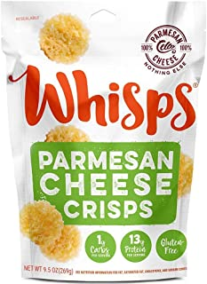 Whisps Parmesan Cheese Crisps   Keto Snack, Gluten Free, Sugar Free, Low Carb, High Protein   9.5 ounce