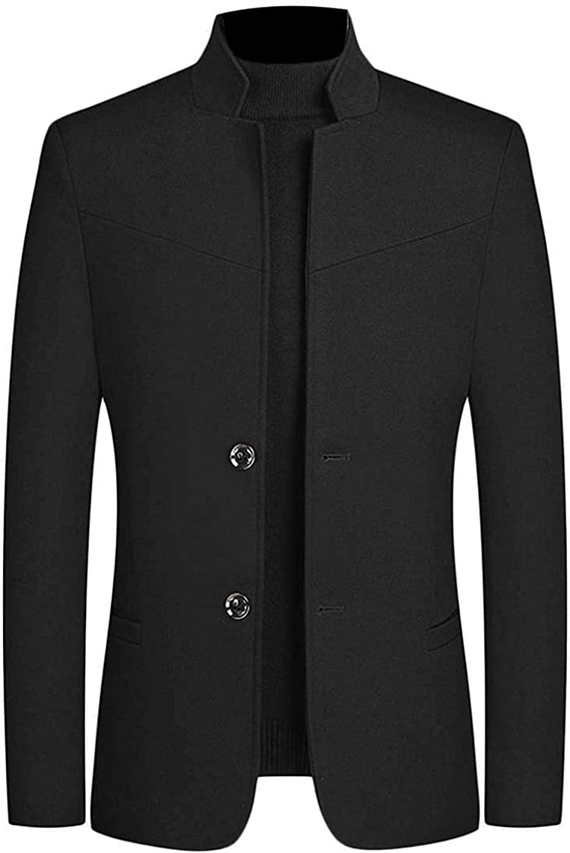 Men Solid Color Regular Fit Casual Business Mandarin Collar Dress Blazer Jacket Suit Coat